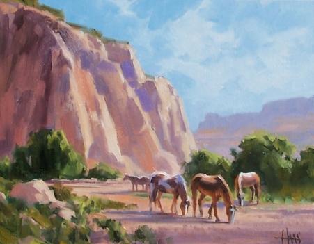"Red Butte Mares - Arizona Utah border 11"" x 14"" oil painting by Tom Haas"