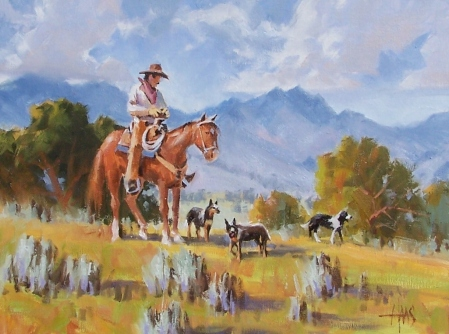 """Sagebush Scouts - Southern Arizona 12"""" x 16"""" oil painting by Tom Haas"""