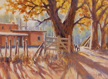 "Chimayo Homestead - New Mexico 12"" x 16"" oil painting by Tom Haas"