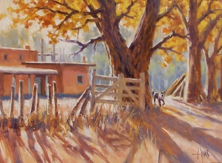 """Chimayo Homestead - New Mexico 12"""" x 16"""" oil painting by Tom Haas"""