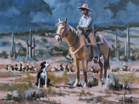 """Moonlight Trail 11"""" x 14"""" oil painting by Tom Haas"""