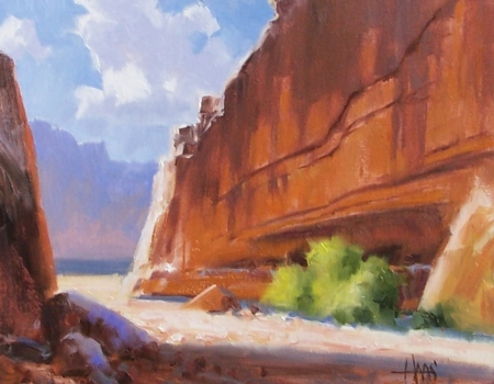 "Hidden Alcove - Canyon de Chelly Arizona 11"" x 14"" oil painting by Tom Haas"