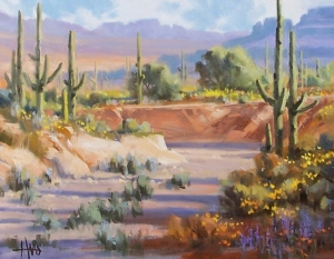 """Tanque Verde Wash - Arizona 11"""" x 14"""" oil painting by Tom Haas"""
