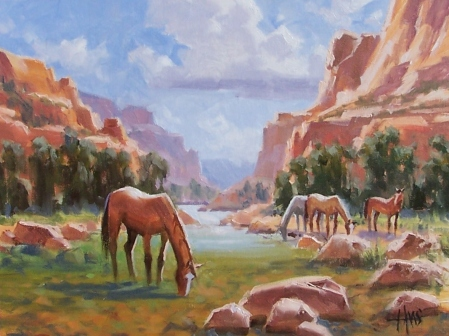 """Canyon Comfort - Sedona 12"""" x 16"""" oil painting by Tom Haas"""
