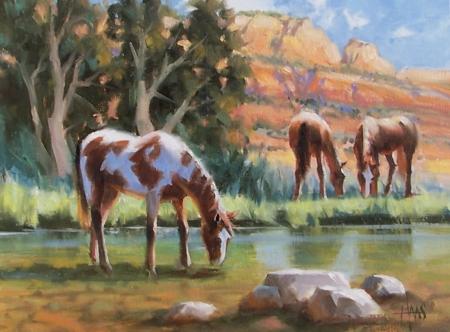 """Oasis - Oak Creek, Arizona 12"""" x 16"""" oil painting by Tom Haas"""