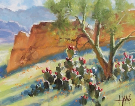 """Prickly Pear - Arizona 11"""" x 14"""" oil painting by Tom Haas"""
