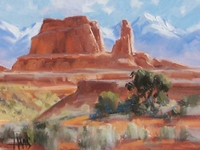 "Skyscrapers - Arches National Park, Utah 8"" x 10"" oil painting by Tom Haas"