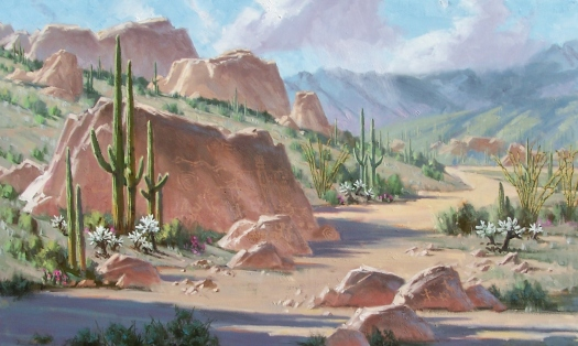 """Petroglyph Wash 36"""" x 60"""" oil painting by Tom Haas"""