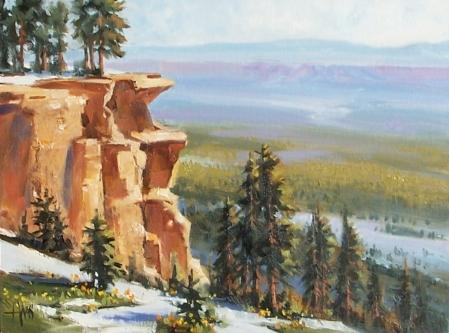 """Rim View - Mogollon Rim, Arizona 12"""" x 16"""" oil painting by Tom Haas"""