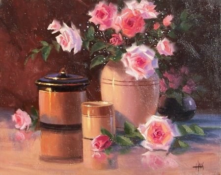 """Roses for the Table 16"""" x 20"""" oil painting by Tom Haas"""