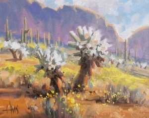 "Teddy Bear Cholla - Arizona 8"" x 10"" oil painting by Tom Haas"