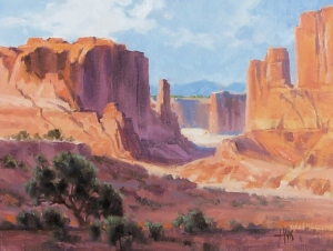 """Upper Crust - Arches National Park Utah 12"""" x 16"""" oil painting by Tom Haas"""