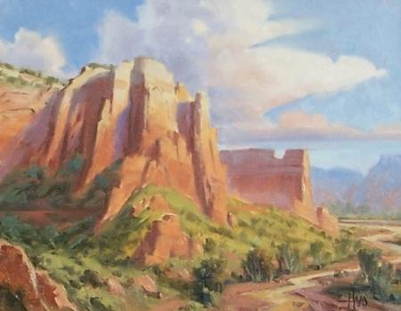 "Canyon Castle - Arizona Utah border 11"" x 14"" oil painting by Tom Haas"