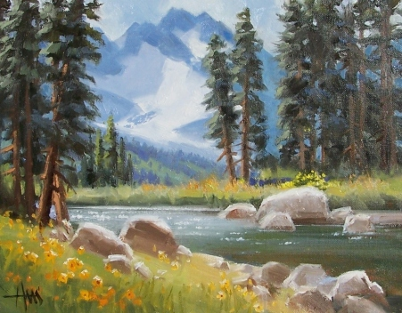 """Spring's Arrival - Colorado 11"""" x 14"""" oil painting by Tom Haas"""