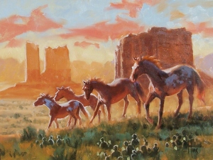 "Navajo Mustangs - Monument Valley 12"" x 16"" oil painting by Tom Haas"