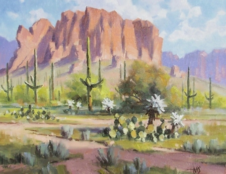 "Thorny Trail - Superstitions, Arizona 11"" x 14"" oil painting by Tom Haas"