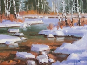 "Aspen Creek - Colorado 8"" x 10"" oil painting by Tom Haas"