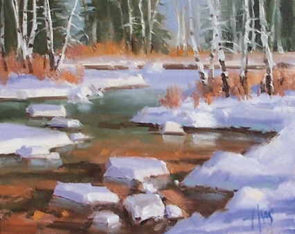 "Aspen Creek - Colorado 8"" x 10"" oil painting by Tom Haas"