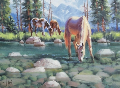 """Cool Summer - Wyoming 12"""" x 16"""" oil painting by Tom Haas"""