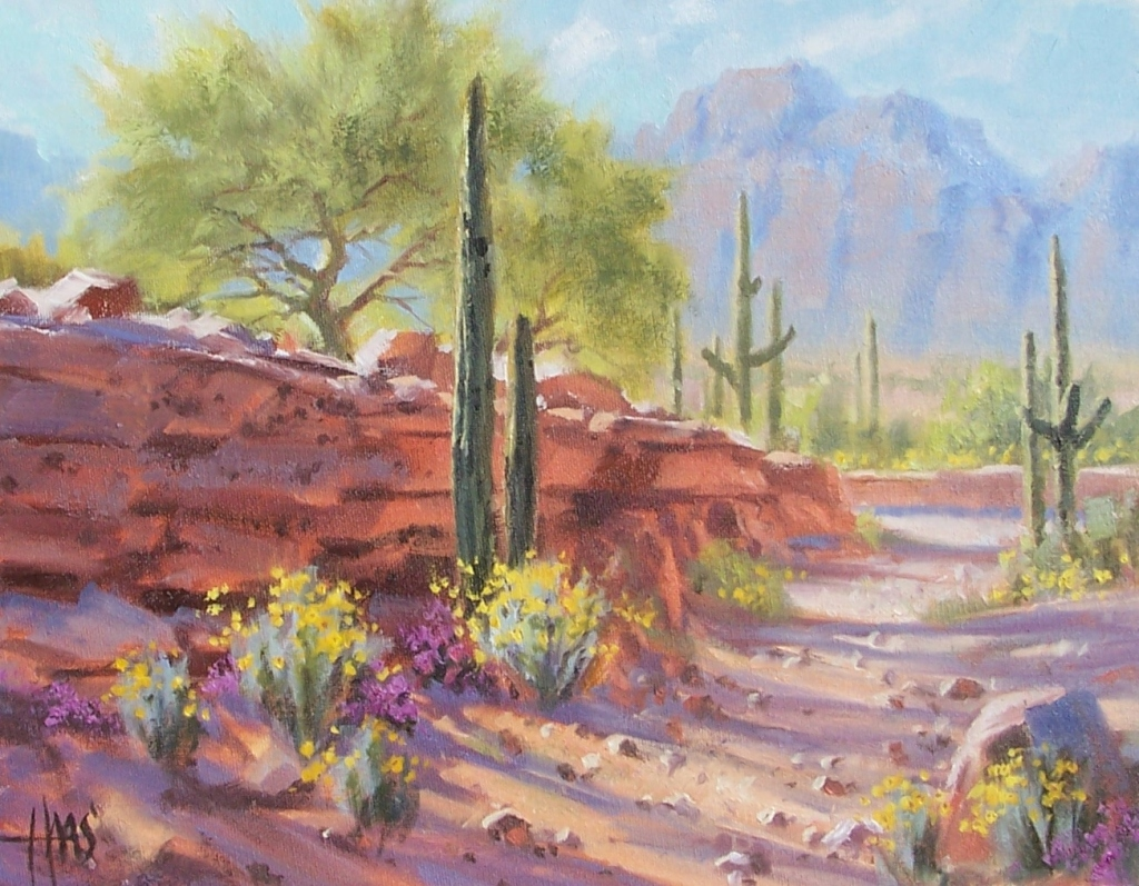 "Dry Gulch - Arizona 11"" x 14"" oil painting by Tom Haas"
