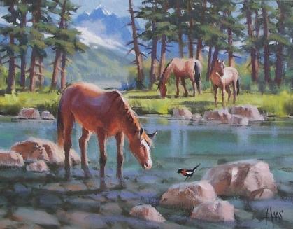 "Friendly Tweets - Colorado 11"" x 14"" oil painting by Tom Haas"