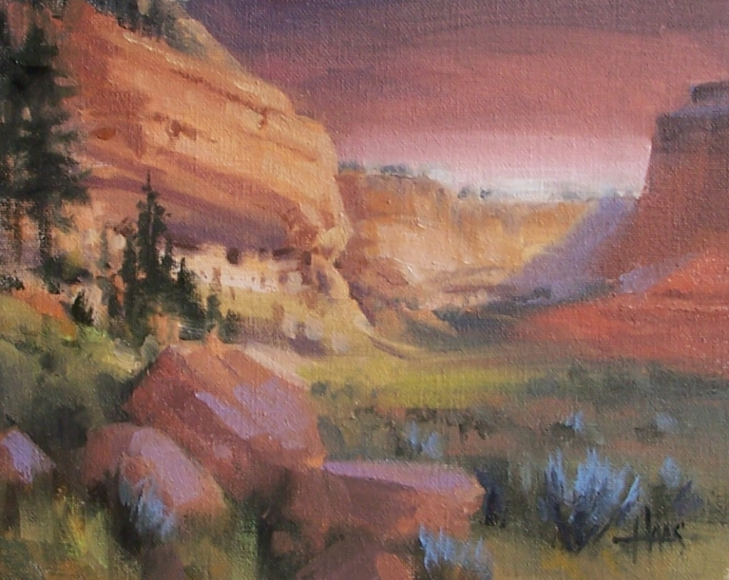 "Sinagua Twilight - Northern Arizona 8"" x 10"" oil painting by Tom Haas"