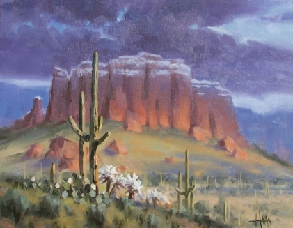 """Sonoran Winter - Superstitions Arizona 11"""" x 14"""" oil painting by Tom Haas"""