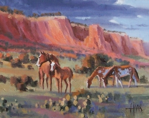 """Wild Ones - Chaco Canyon, New Mexico 8"""" x 10"""" oil painting by Tom Haas"""
