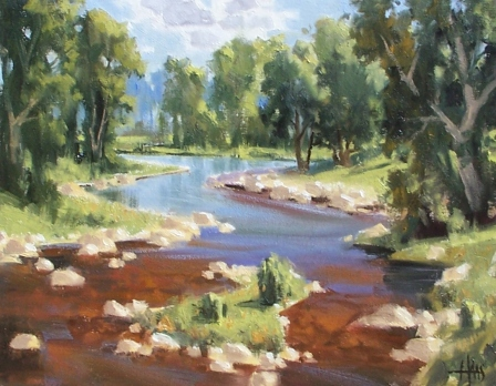 """Live Streaming - Northern Arizona 11"""" x 14"""" oil painting by Tom Haas"""