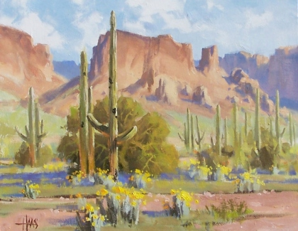 "Mesquite Ridge - Arizona 11"" x 14"" oil painting by Tom Haas"