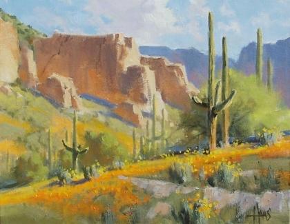 "Poppy Season - Arizona 11"" x 14"" oil painting by Tom Haas"