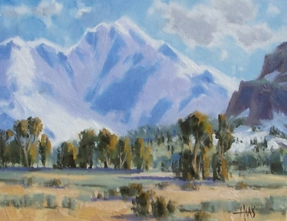 """Mountain Solitude - Wyoming 11"""" x 14"""" oil painting by Tom Haas"""