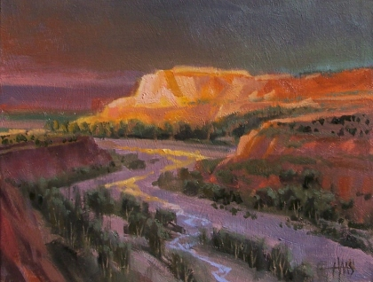 """Passing Storm - Arizona 11"""" x 14"""" oil painting by Tom Haas"""