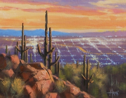 "Phoenix Lights - Arizona 11"" x 14"" oil painting by Tom Haas"