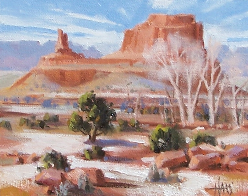 "Southwest Winter - Arizona Utah Border 8"" x 10"" oil painting by Tom Haas"