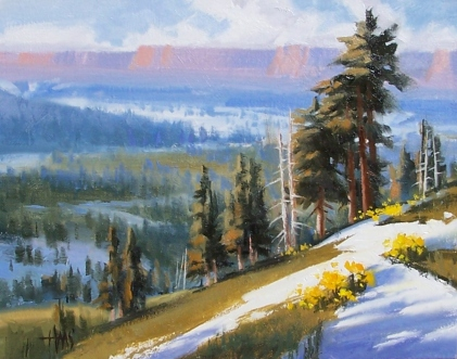 """Winter Patterns - Northern Arizona 11"""" x 14"""" oil painting by Tom Haas"""