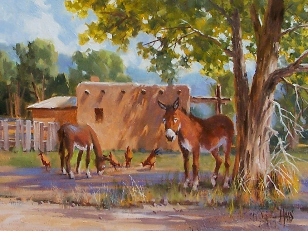 """Extended Family - New Mexico 12"""" x 16"""" oil painting by Tom Haas"""