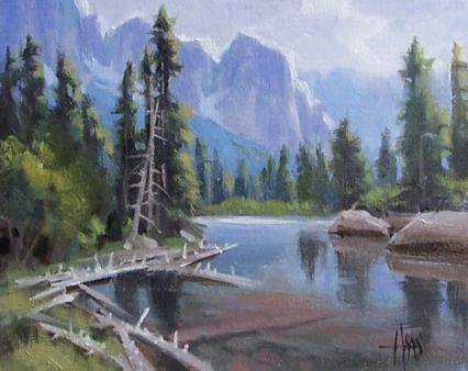 "In the Rockies - Wyoming 8"" x 10"" oil painting by Tom Haas"