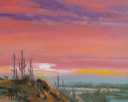 """Valley of the Sun - Arizona 8"""" x 10"""" oil painting by Tom Haas"""