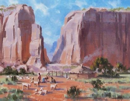 "Desert Shepards - Shepherds in Monument Valley 11"" x 14"" oil painting by Tom Haas"