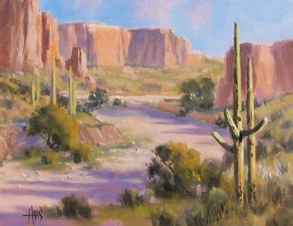 "Jackrabbit Valley - Arizona 11"" x 14"" oil painting by Tom Haas"
