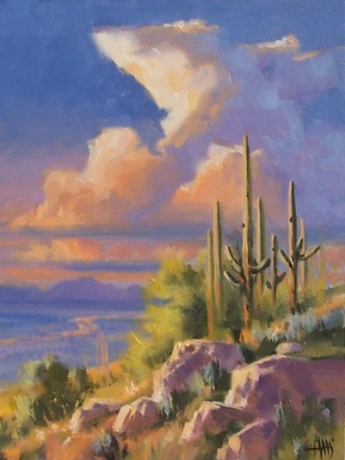 """Last Light - Arizona 16"""" x 12"""" oil painting by Tom Haas"""