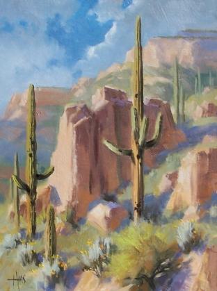 "Spring Greening - Arizona 16"" x 12"" oil painting by Tom Haas"