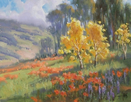 """Hillside Poppies - New Mexico 11"""" x 14"""" oil painting by Tom Haas"""