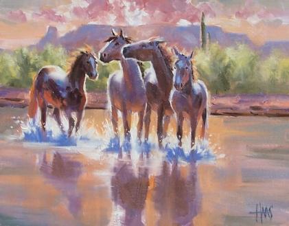 "Morning Romp - Arizona 11"" x 14"" oil painting by Tom Haas"