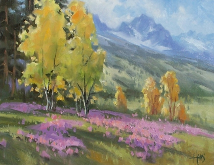 """Owl's Clover - Wyoming 11"""" x 14"""" oil painting by Tom Haas"""