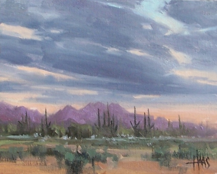 """Partly Cloudy - Arizona 8"""" x 10"""" oil painting by Tom Haas"""