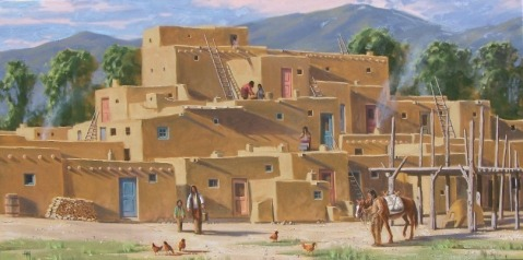 """Pueblo Pinon Fires - New Mexico 30"""" x 60"""" oil painting by Tom Haas"""