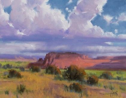 "Red Mountain Rain - Arizona 11"" x 14"" oil painting by Tom Haas"