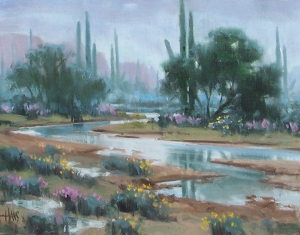 """Desert Drizzle - Arizona 11"""" x 14"""" oil painting by Tom Haas"""